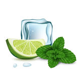 Ice cube with lime slice and mint Royalty Free Stock Images