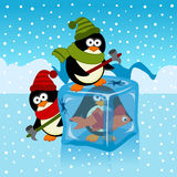 Ice cube with penguin. Vector illustration royalty free illustration