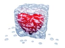 Ice cube with red heart Royalty Free Stock Photos