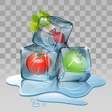 Ice cube, set with tomato Stock Photography