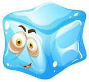 Ice cube with sleepy face Stock Image