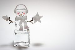 Ice Cube Snowman. With star and mitten Stock Photography