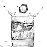 Ice cube splashing in a cool glass of water Royalty Free Stock Photos