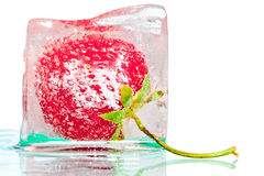 Ice cube with strawberry Stock Photo