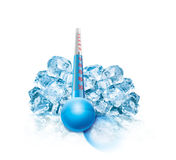 Ice Cube and thermometer Illustration Stock Image