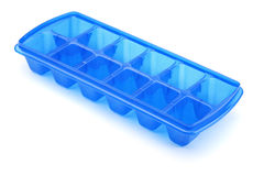 Ice cube tray. Blue plastic ice cube tray isolated on white Royalty Free Stock Photo