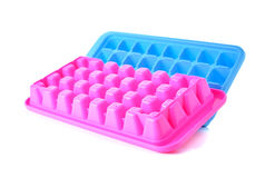 Ice cube tray on white Royalty Free Stock Photos