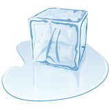 Ice cube. Vector illustration of blue half-melted ice cube Stock Images