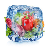 Ice cube with vegetables Stock Photo