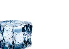 Ice cube with water drops isolated Stock Images