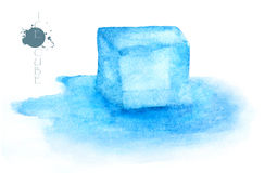 Ice cube - watercolor painting illustration on white background Stock Image
