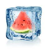 Ice cube and watermelon. Isolated on a white background royalty free stock photography