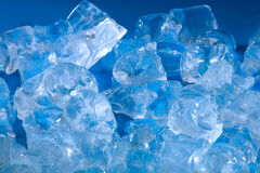 Ice cubes. On blue Stock Photo