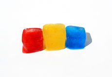 Ice cubes. Here are three ice cubes of different colours. They represent Romanian Flag Stock Image