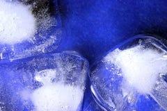 Ice cubes. Ice cube on wet blue background Stock Photos