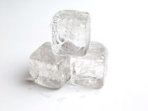 Ice Cubes. Three Ice Cubes on white background stock photos