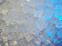 Ice-cubes. Lit by blue light stock image