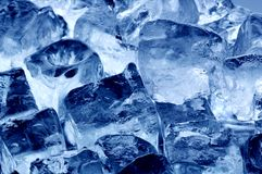 Ice cubes. Background of blue colored ice cubes Royalty Free Stock Photo