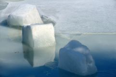 Ice Cubes. Bluish ice cube melting in the lake in March Stock Images