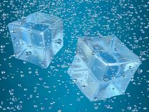 Ice cubes. A couple of ice cubes swimming in blue drink. Photorealistic 3D rendering Royalty Free Illustration