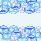 Ice cubes background. Hand drawn watercolor ice cubes background vector illustration