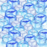 Ice cubes background. Hand drawn watercolor ice cubes background royalty free illustration