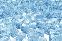 Ice cubes background, pile of blue ice cubes. 3d rendering Royalty Free Stock Image