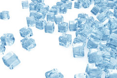Ice cubes background, pile of blue ice cubes. 3d rendering. Ice cubes background, pile of blue ice cubes, 3d rendering Royalty Free Stock Photos