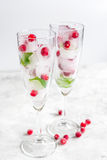 Ice cubes with berries and mint in glasses for summer drink white background Royalty Free Stock Photo