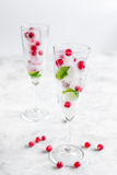 Ice cubes with berries and mint in glasses for summer drink white background Stock Photos