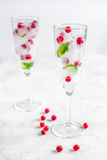 Ice cubes with berries and mint in glasses for summer drink white background Royalty Free Stock Photography