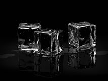 Ice cubes. On black background.3D render Royalty Free Stock Photography