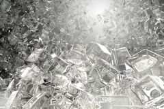Ice cubes on black and gray background 3d illustration.  Stock Images