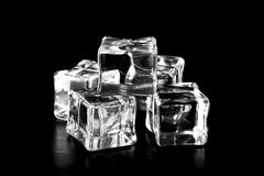 Ice cubes on black table. Selective focus Royalty Free Stock Images