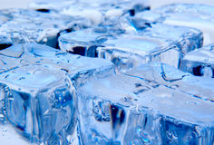 Ice cubes on blue background Royalty Free Stock Images