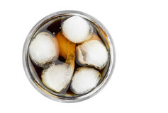 Ice Cubes With Carbonated Refreshing Drink. Top View Of Iced Glass Full Of Ice Cubes With Carbonated Refreshing Drink In It On White Background Closeup Stock Image