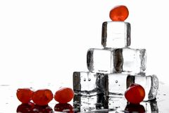 Ice cubes and cherries Stock Images
