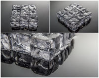 Ice cubes collage Stock Images