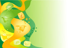 Ice cubes colored background. Abstract background with citrus ice cubes Stock Photography