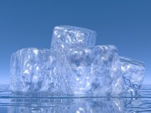 Ice cubes - 3D render. Close up on many ice cubes into water in blue background stock illustration