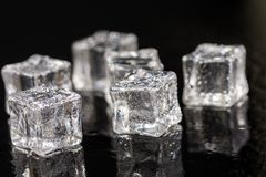 Ice cubes with drops of water on the black background with reflections.  stock image