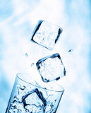 Ice cubes falling into a water glass Stock Images