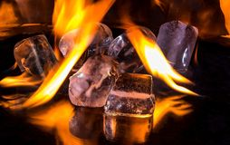 Ice Cubes, Fire, Flame, Burn, Hot Royalty Free Stock Photo