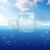 Ice cubes floating in the sea Royalty Free Stock Image