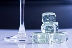 Ice cubes and glass Stock Photo