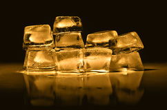 Ice cubes of  gold color Royalty Free Stock Images