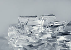 Ice cubes on  grey Royalty Free Stock Image