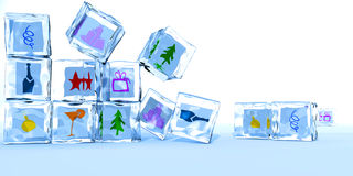 Ice cubes by a happy New year Royalty Free Stock Image