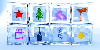 Ice cubes by a holiday Stock Images
