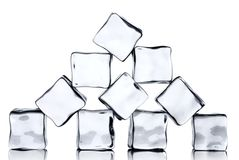 Ice cubes isolated on white Royalty Free Stock Photos